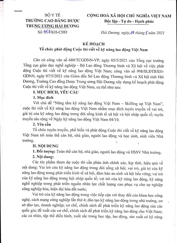 Kế hoạch Tổ chức phát động cuộc thi viết về kỹ năng lao động Việt Nam