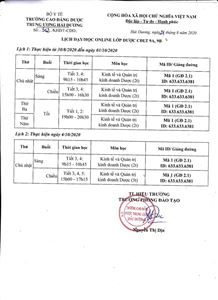 Lịch day/học online lớp 9A, 9B DSCĐ VLVH