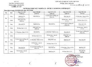 Lịch dạy/học kỳ 3 khóa 12 DSCĐ Chính quy