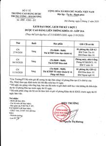 Lịch dạy/học, lịch thi kỳ 1 đợt 2 lớp 10A DSCĐ LT