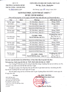 Lịch dạy/học, lịch thi kỳ 4 đợt 1 Lớp CĐVB2 Khóa 2