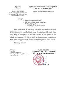 V/v Bộ trưởng Bộ Y tế gửi thư nhân kỷ niệm 66 năm ngày Thầy thuốc Việt Nam (27/02/1955 - 27/02/2021)