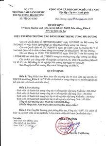 Quyết định khen thưởng sinh viên 8B, 8C hệ DSCĐ Liên thông khóa 8