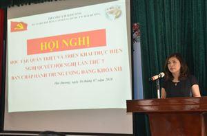 Đảng bộ Trường CĐ Dược Trung ương Hải Dương học tập, quán triệt, triển khai thực hiện Nghị quyết Hội nghị TW 7 -  Khóa XII