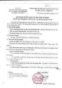 Kế hoạch ôn tập và thi tốt nghiệp DSCĐ liên thông khóa 7 VLVH - Lớp Hà Giang, Bắc Giang