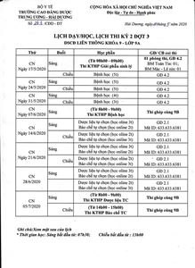 Lịch dạy/học và lịch thi lớp 9A kỳ 2 đợt 3 DSCĐ LT