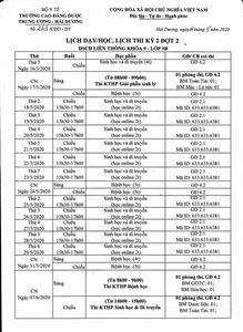 Lịch dạy/học và lịch thi lớp 9B kỳ 2 đợt 2 DSCĐ LT