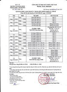 Lịch dạy/học, lịch thi Kỳ IV Khóa 8 Lớp 8E DSCĐ LT điều chỉnh lịch
