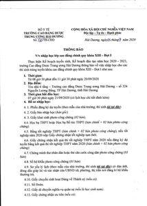 V/v nhập học lớp DS Cao đẳng chính quy khóa XIII đợt 1