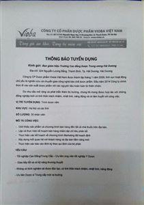 Thông báo tuyển dụng công ty cổ phần dược phẩm Vioba Việt Nam