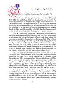 Thư của Bộ trưởng Bộ Y tế gửi nhân kỷ niệm 66 năm ngày Thầy thuốc Việt Nam (27/02/1955 - 27/02/2021)