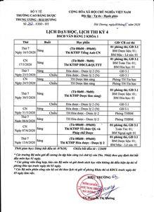 Lịch dạy/học và lịch thi lớp Văn bằng 2 khóa 1 kỳ 4 DSCĐ