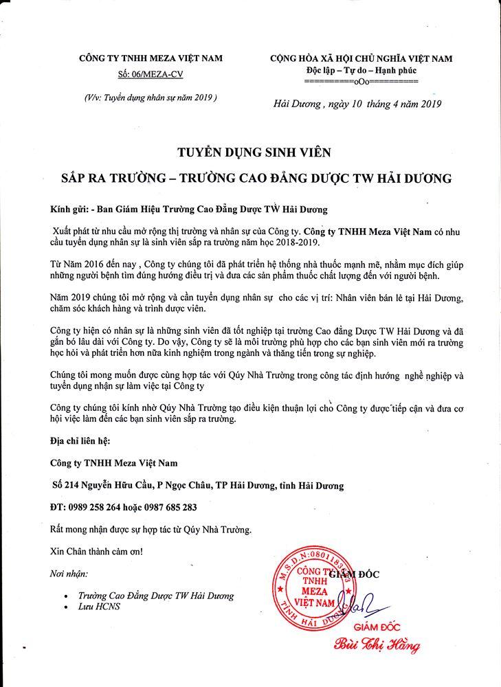 Công ty TNHH Meza Việt Nam tuyển dụng Sinh viên sắp ra trường -  trường Cao đẳng Dược Trung ương - Hải Dương
