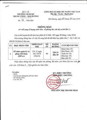 Thông báo bổ sung lịch thi kết thúc học phần DSCĐ CQ Khóa 9 Lần 2 - Kỳ 3