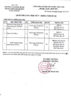 Lịch thi lần 2 học kỳ V - Khóa 9 DSCĐ CQ